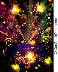 Grunge Music Background with Music Notes