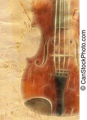 grunge music backgrouns - old violin on grunge paper