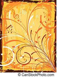 Grunge music frame with floral, element for design, vector...