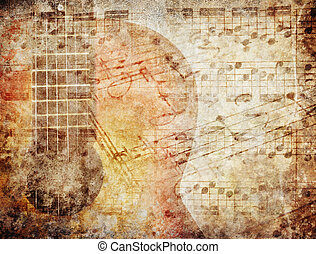 Grunge background with music sheets and guitar