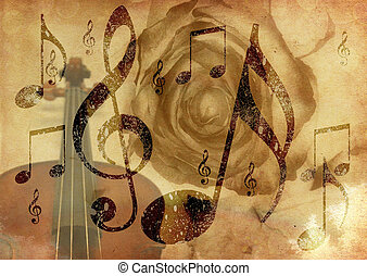 Grunge music rose background