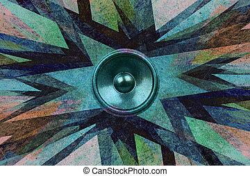 Grunge music speaker explosion