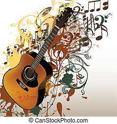 Grunge music vector background