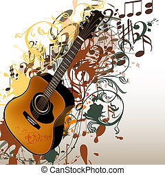 Grunge music vector background with guitar and notes