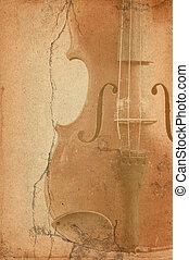 grunge, musik, fiol, gammal, bakgrund