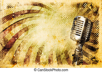 grunge, musik, mikrofon, gammal, bakgrund