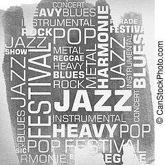 grunge, musique, typographie