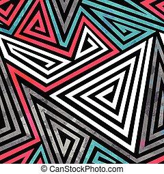 grunge, muster, dreieck, spiralen, seamless