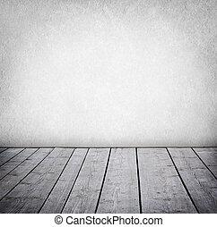 grunge, muur, en, hout, paneled, vloer, interieur, van, een, room.