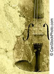 grunge, muziek, fiddle, oud, achtergrond