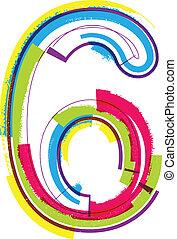grunge, número, coloridos, 6