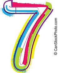 grunge, número, coloridos, 7