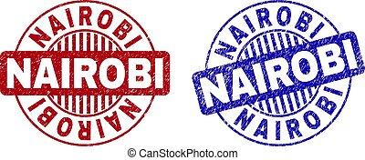 Grunge NAIROBI Scratched Round Stamps - Grunge NAIROBI round...