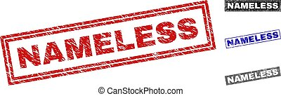 Grunge NAMELESS rectangle stamp seals isolated on a white background. Rectangular seals with grunge texture in red, blue, black and gray colors.