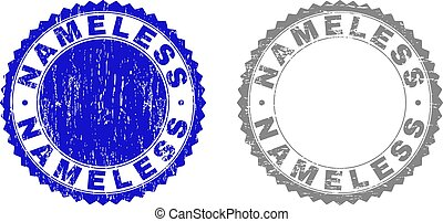 Grunge NAMELESS stamp seals isolated on a white background. Rosette seals with grunge texture in blue and gray colors. Vector rubber stamp imitation of NAMELESS title inside round rosette.