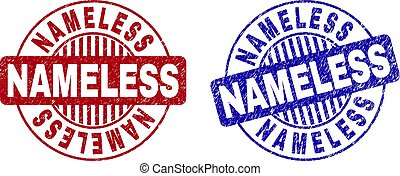Grunge NAMELESS round stamp seals isolated on a white background. Round seals with grunge texture in red and blue colors. Vector rubber watermark of NAMELESS label inside circle form with stripes.