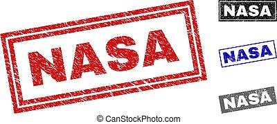 Grunge NASA Scratched Rectangle Stamp Seals