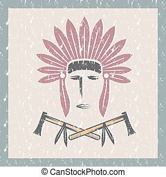grunge Native American chief man in tribal headdress with tomahawks