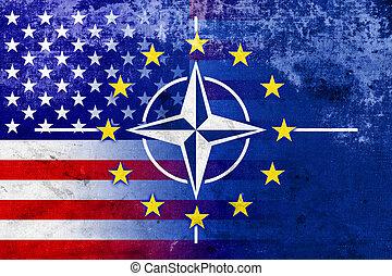 Grunge Nato, EU and USA Flag