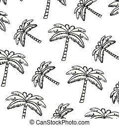 grunge, natur, träd, tropisk, palm, bakgrund