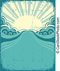 Grunge nature poster background with sunshine. Vector illustration