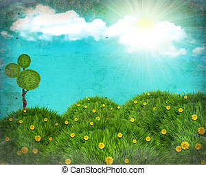 grunge, naturquerformat, collage, mit, grünes gras, hügel, und, sonne, auf, altes , beschaffenheit