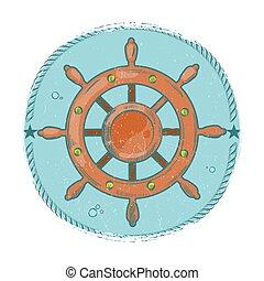 Grunge nautical emblem. Hand drawn sea wheel