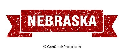 grunge, nebraska, ribbon., banda, rojo, señal