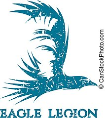 grunge negative space vector concept of warrior head in eagle