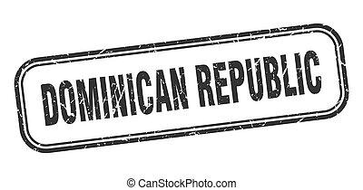 grunge, negro, dominicano, señal, stamp., aislado, república