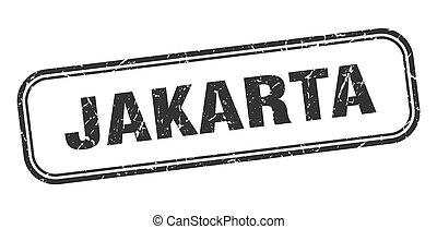 grunge, negro, señal, yakarta, stamp., aislado