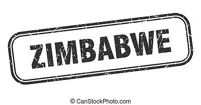 grunge, negro, zimbabwe, señal, stamp., aislado