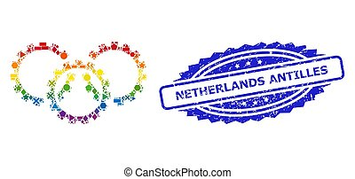 Grunge Netherlands Antilles Stamp and Bright Geometric Gears...