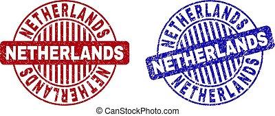 Grunge NETHERLANDS Scratched Round Stamp Seals