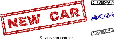 Grunge NEW CAR Textured Rectangle Stamps