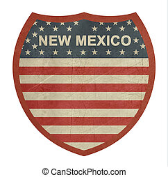 Grunge New Mexico American interstate highway sign