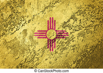 Grunge New Mexico state flag. New Mexico flag background grunge texture.