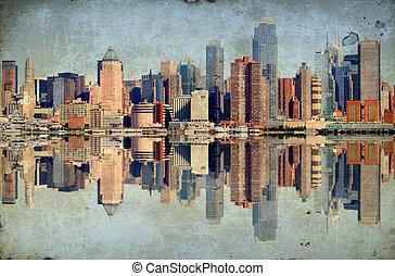 grunge, new york city, över, hudson flod, horisont