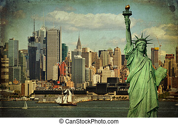 new york city tourism concept with statue liberty
