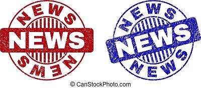 Grunge NEWS Scratched Round Stamps