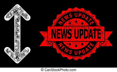Grunge News Update Seal and Bright Polygonal Net Swap Arrows Vertically with Lightspots