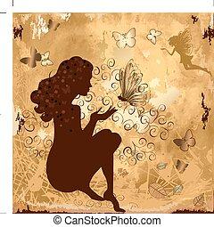 grunge, niña, con, mariposas