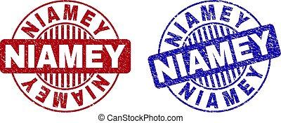 Grunge NIAMEY Scratched Round Watermarks - Grunge NIAMEY...