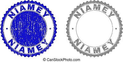 Grunge NIAMEY Scratched Stamp Seals - Grunge NIAMEY stamp...