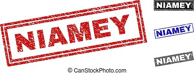 Grunge NIAMEY Textured Rectangle Stamps - Grunge NIAMEY...