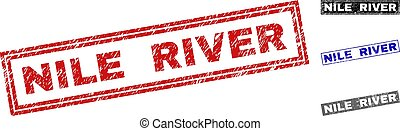 Grunge NILE RIVER Scratched Rectangle Watermarks - Grunge...