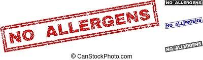 Grunge NO ALLERGENS Textured Rectangle Stamp Seals