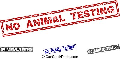 Grunge NO ANIMAL TESTING Textured Rectangle Stamp Seals
