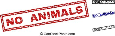 Grunge NO ANIMALS Scratched Rectangle Stamp Seals