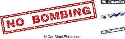 Grunge NO BOMBING Textured Rectangle Stamp Seals